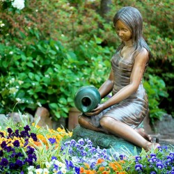 Bronze Girl with Vase Fountain Sculpture