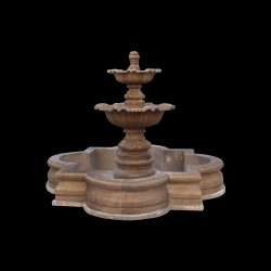 Marble Traditional Tier Fountain with Basin