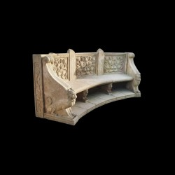 Marble Floral Bench with Griffins