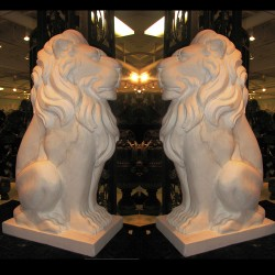 Marble Hearst Castle Lion Sculpture Pair
