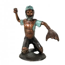Bronze Baseball Catcher Sculpture