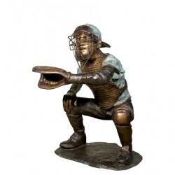 Bronze Baseball Glove Out Catcher Sculpture