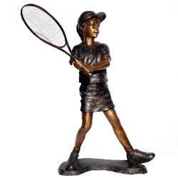 Bronze Girl Tennis Player Sculpture