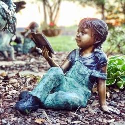 Bronze Girl Reading Book...