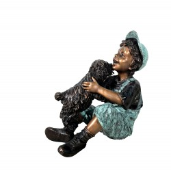 Bronze Boy playing with Dog Sculpture