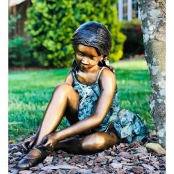 Bronze Ballerina Fixing Shoe Sculpture