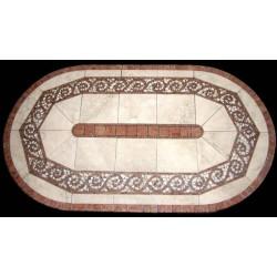 Claredon Mosaic Table Top - Racetrack Oval Shape