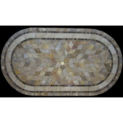Sedona Mosaic Table Top - Racetrack Oval Shape and Optional Umbrella Hole
