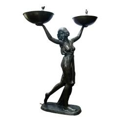 Bronze Art Deco 'Stella' holding Bowls Fountain