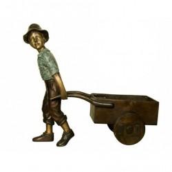 Bronze Boy pulling Wagon Sculpture (planter)