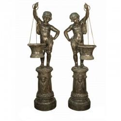 Bronze Boy & Girl holding Basket Sculpture (planter)
