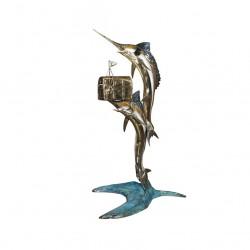 Bronze Two Swordfish Mailbox Sculpture