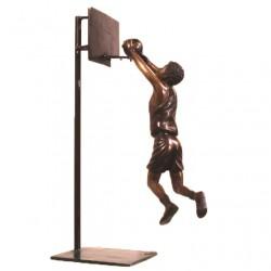 Bronze Boy Playing Basketball Sculpture