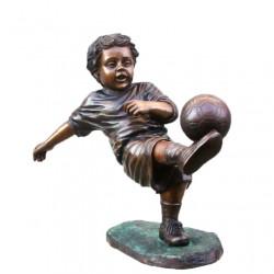 Bronze Boy Playing Soccer Sculpture