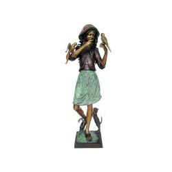 Bronze 'Amelia' Girl with Birds & Cat Sculpture