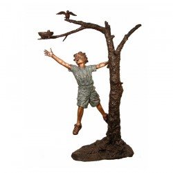 Bronze Boy & Birds Nest in Tree Sculpture