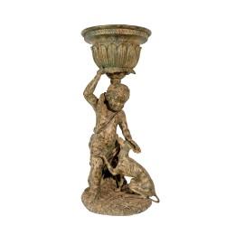 Bronze Boy & Dog Urn