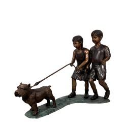 Bronze Boy & Girl walking Terrier Dog Sculpture