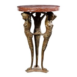 Bronze Egyptian Table with Marble Surface