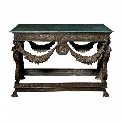 Bronze Garland Console Table with Marble Top