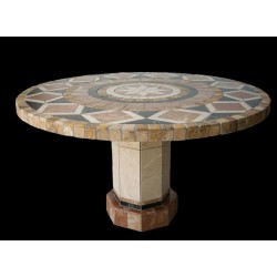 Bellagio Round Stone Tile Dining Table