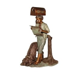 Bronze Boy & Dog Reading Newspaper Mailbox Sculpture