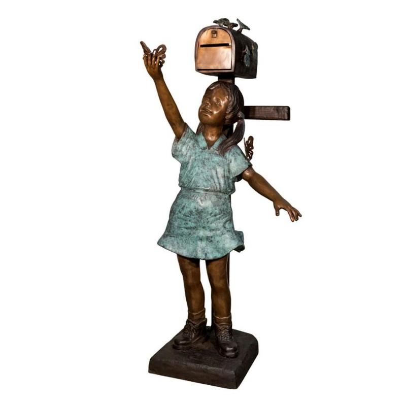 Bronze Girl with Butterflies Mailbox