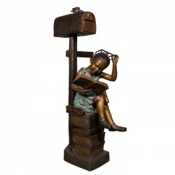 Bronze Girl Reading Book Mailbox