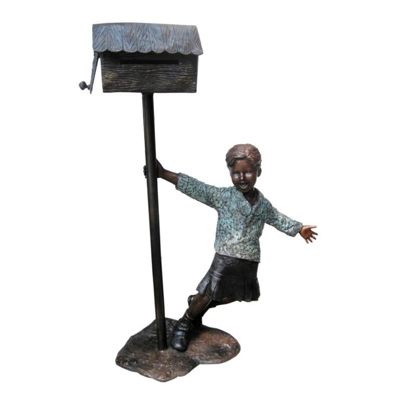 Bronze Boy holding Mailbox