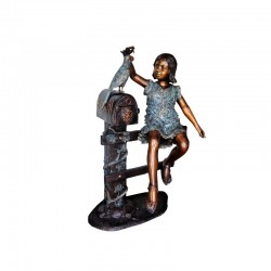 Bronze Girl on Fence with Bird Mailbox