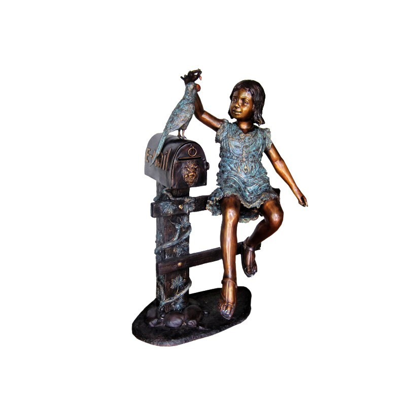 Bronze Girl on Fence with Bird Mailbox