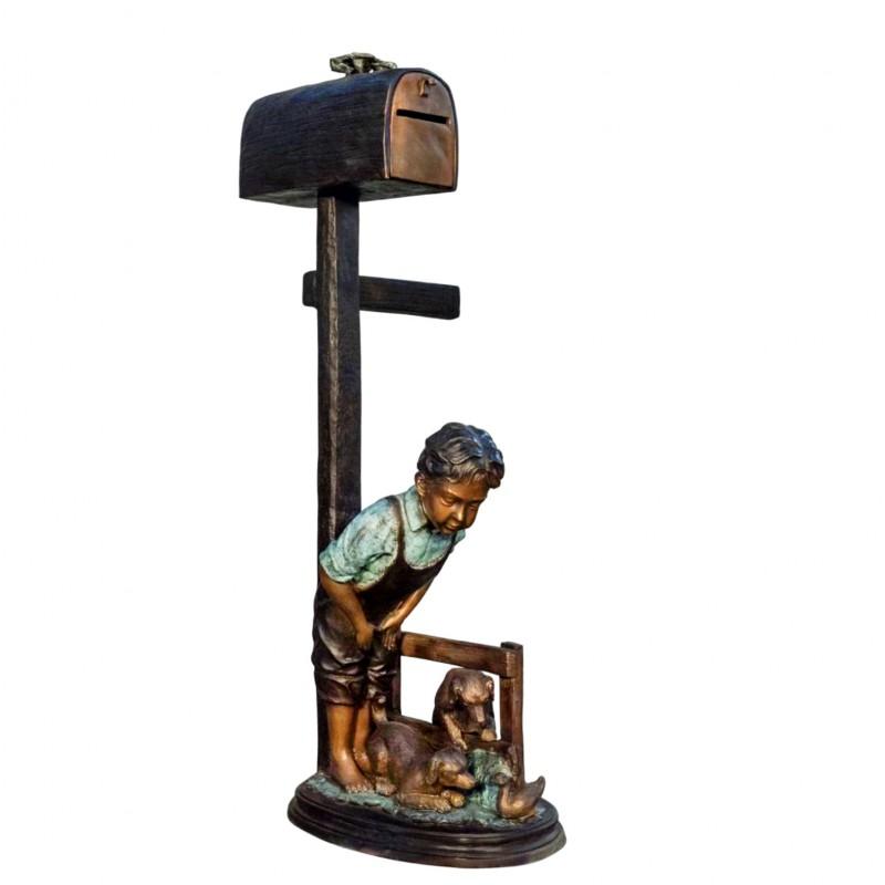 Bronze Boy and Dog Mailbox