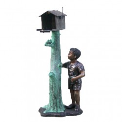 Bronze Boy Mailbox Sculpture