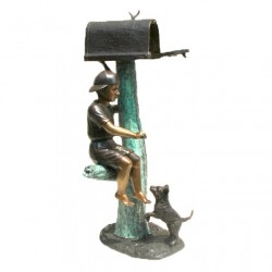 Bronze Boy Sitting with Dog Mailbox