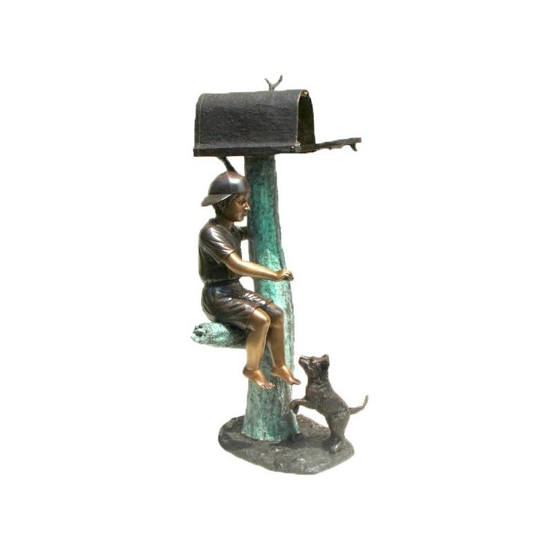 Bronze Boy Sitting with Dog Mailbox