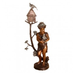 Bronze Girl & Bird Mailbox