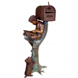 Bronze Boy & Puppy Mailbox