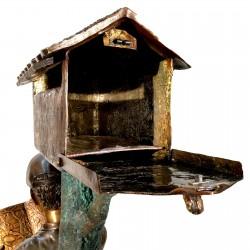 Bronze Boy & Dog on Log Mailbox - Open Mailbox