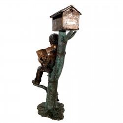 Bronze Boy & Dog on Log Mailbox - Back Side