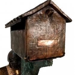 Bronze Boy & Dog on Log Mailbox - Close Mailbox