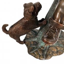 Bronze Boy & Dog on Log Mailbox - Dog