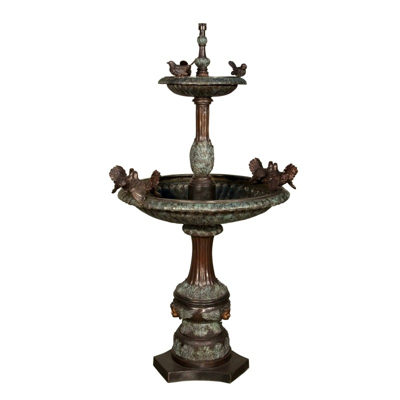 Bronze Two Tier Birds Fountain