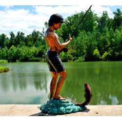 Bronze Boy Fishing Fountain Sculpture