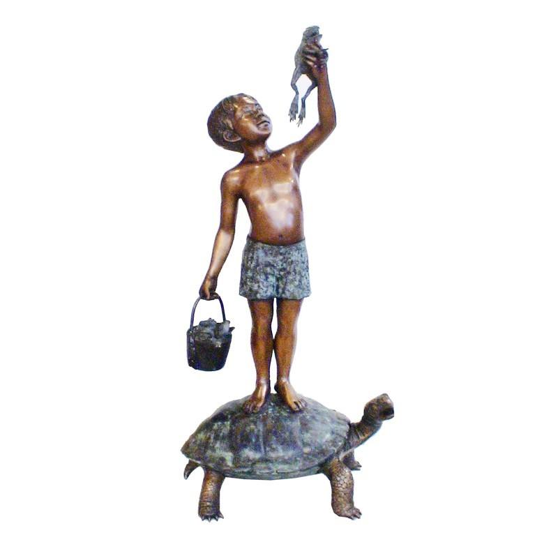 Bronze Boy on Turtle holding Frog Sculpture