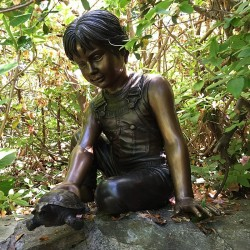 Bronze Boy holding Turtle Fountain Sculpture - In Setting