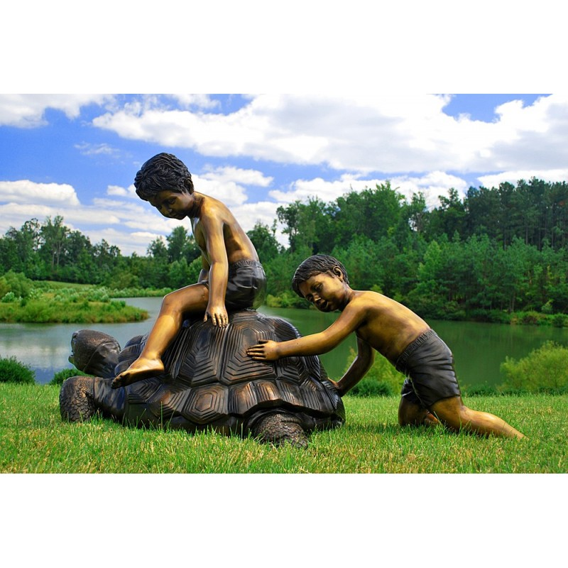 Bronze Children on Turtle Fountain Sculpture