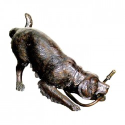 Bronze Dog with Garden Hose Fountain Sculpture