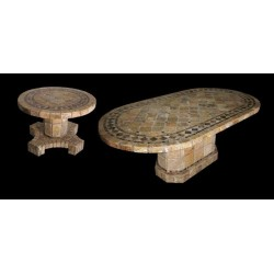 Vineyard Mosaic Table Top - Shown with Optional Matching Table Bases