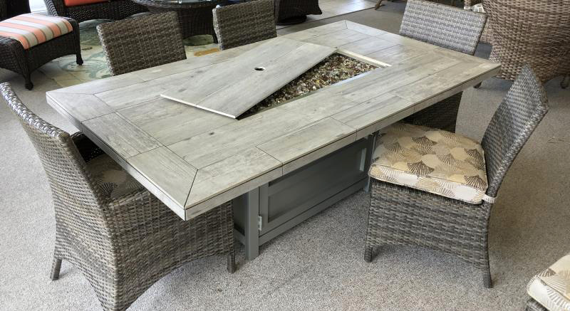 Stone Tile Fire Pit Dining Table