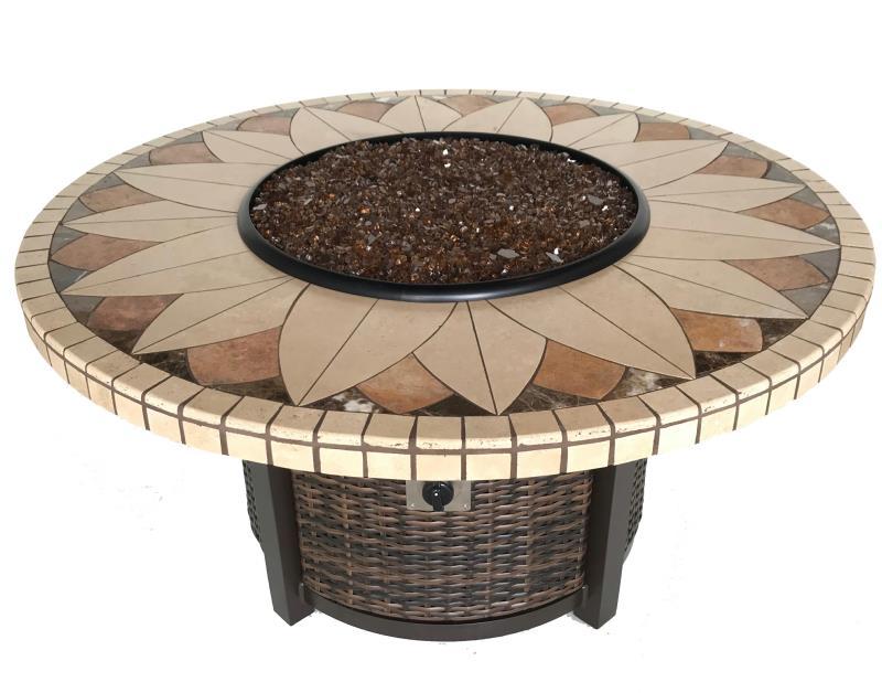Sunflower Stone Tile Mosaic Fire Pit